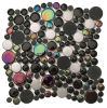 Black Round Wall Used Glass with Stainless Steel Crystal Mosaic (CFC254)