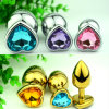 Golden/ Silver Stainless Steel Heart Anal Plug Jewelled Butt Plug