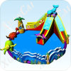 Big Inflatable Water Slide with Pool, Water Park, Aqua Amusement