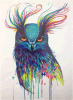 Big Owl Watercolor Temporary Tattoo Sticker Art Tattoo