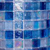 Square Blue Glass Mosaic Stone