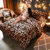 Queen 100% Polyester Leopard Coral Fleece Bedding Sets 4PCS