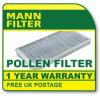 Cu4260 Mann Hummel Pollen Filter (Peugeot 605 5/94>) New O. E Spec!