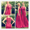 Scoop-Neck Appliques Sweep Train Burgendy Mermaid Bridesmaid Dress (Dream-100015)