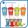 Stainless Steel Drinking Cups with Lids, Sleeve&Straw
