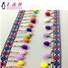 Wholesale Garment Accessory Fancy Colorful POM POM Fringe Lace