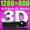 1280*800 HD 4500 Lumen Home Projector with 3D Function