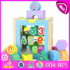 Kids Educational Wooden Blocks Shape Color Matching Toys, Children Wooden Matching Block Toy for Learn Numbers W12D030