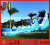 Clear Inflatable Wave Shape Slide with Pool for Water Games