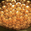 Handcraft Circular Disk Wood Working Honeycomb LED Pendant Light