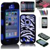 Rubber Zebra Hybrid Rugged Matte Hard Case Cover for iPhone 4 4s Free Film Pen Hca0016