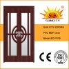 Double Door Leaf Glass PVC MDF Doors for Balcony (SC-P079)