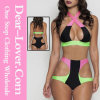 Zip Decor Color Block Pink Bikini Set