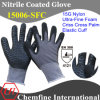 Nylon Knitted Glove with Ultra-Fine Nitrile Foam Coating & Criss-Cross Palm & Elastic Cuff