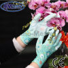 Nmsafety Colorful Polyester Liner Coated PU Garden Glove with Pattern