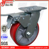 6X2 Heavy Duty Red PU Caster Wheel with Brake