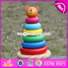New Design Colorful Bear Educational Wooden Baby Stacking Rings W13D137