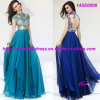Popular Beaded Full Length Evening Prom Dress with Cap Sleeves