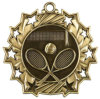 Gold Ten Star Tennis Die Cast Medal with Red, White & Blue Neck Ribbon - 2.25 Inch Diameter