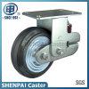 "8""Iron Core Black Rubber Rigid Shockproof Caster Wheel"