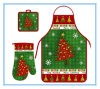 Christmas Household Cooking 3 PCS Heat Resistant Gloves and Aprons