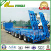 Single Wheel 3 Axles Loading 60tons Lowbed Truck Trailer