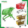 Popular Style Supermarket Colorful Plastic Metal Shopping Cart
