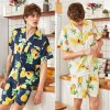 Silk Pineapple Printed Short Sleeve Shorts Two-Piece Home Suit