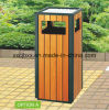 30L Camphor Wood Decorative Dustbins, Steel-Wood Garbage Bin for Park