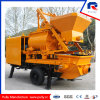 Original Kawasaki Oil Pump Portable Mini Trailer Concrete Pump with Twin-Shaft Mixer
