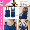 Custom Dri Fit Sexy Women Blue Tank Top and Bra Two in One
