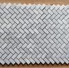 Fishbone Shaped Cararra White Marble Mosaic Tiles Backsplash Kitchen Wall Tile