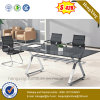 Square Office Desk Metal Leg Office Furniture Modern Glass Meeting Table (NS-GD051)