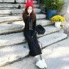Retro Women Fleece Autumn Winter Slim Long Hoodie Dress (50198)