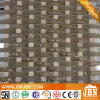 Arch Strip Shape Crystal Glass Mosaic, Square Emperador Stone (M855095)