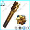 Tin-Coated 6 Flutes Morse Taper Shank HSS End Mills