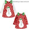 Colorful Christmas Girls′ Dress Children Clothes with Bows on Two Shoulders
