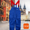 OEM Blue and Red Scrub Bib Overalls, Multiple Pockets of Mechanic Overalls