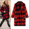 in The Long Grid Cloth Coat Lapels for Woman′s Clothes