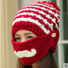 Hand-Knitted Hat Embroidered Knitted Beanie Hat