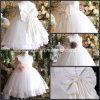 New Baby Girl Ball Gown White Flower Girls' Dresses Jewel Floor-Length Applique Beaded Lace Handmade Flower Bow Tulle Wedding Dresses for Girls Nh132