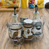 Factory Wholesale High Quality Oil Spice Storage Glass Bottle in Rack (100007)