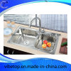 Double Bowl Stainless Steel Kitchen Wash Basin (KS-7540L)