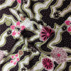Printed Satin in Flower and DOT Pattern