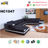 Home Furniture Black Leather Sofa with Couch (HC1047)