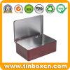 Hinged Rectangle Custom Metal Can Tea Canister Tea Caddy Tins