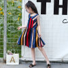 Girls Cotton Striped Skirt Round Neck Sleeveless Cotton Color Dress