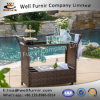 Garden Rattan PE Wicker Bar Cart with Built-in Ice Bucket