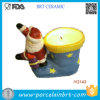 Santa Claus and His Socks Ceramic Candle Holder