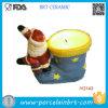 Santa Claus and His Socks Ceramic Candle Holder